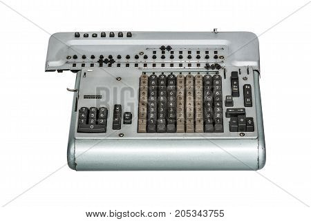 Old Counting Machine isolated on white background.
