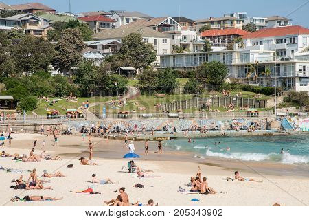 SYDNEY,NSW,AUSTRALIA-NOVEMBER 21,2016: Waterfront apartments, foreshore, sea wall and crowds on the Pacific Ocean coast at Bondi Beach in Sydney, Australia.