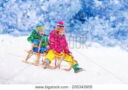 Kids Having Fun On Sleigh Ride