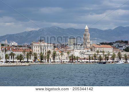 SPLIT, CROATIA - JULY 13, 2017: Diocletian's Palace in Split Croatia
