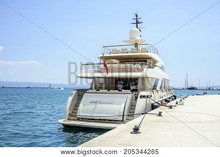 SPLIT, CROATIA - JULY 13, 2017: Boat on the pier in the resort town of Split, Croatia.