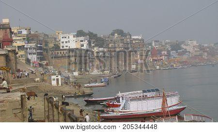 Varanasi. Holy indian city. Ganga holy indian river.