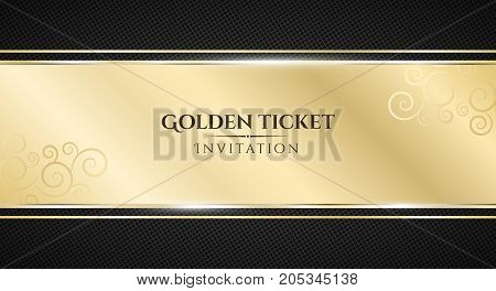 Golden ticket. Luxurious invitation. Golden ribbon banner on a black background with a pattern of mesh. Realistic gold strip with an inscription. VIP invitation. Vector illustration