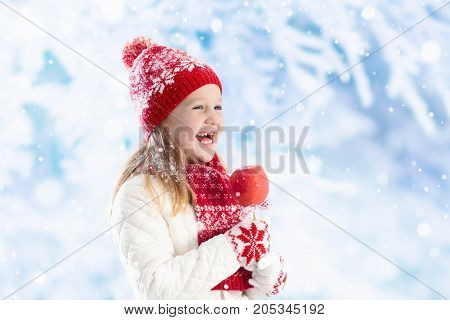 Child With Candy Apple On Winter Fair