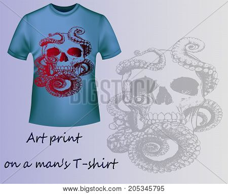 Steep T-shirt with print skull and octopus. Idea for a stylish print on a men's T-shirt. Art sketch, gothic style