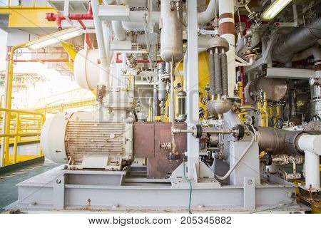Centrifugal pump type driving by electric motor to transfer liquid condensate to floating storage and offloading boat.