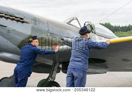 Air Show Spitfire Mk Xvi Airplane Flying