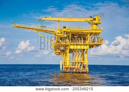 Oil and gas wellhead remote platform in the gulf of Thailand produced raw gas for sent to central processing platform far away.