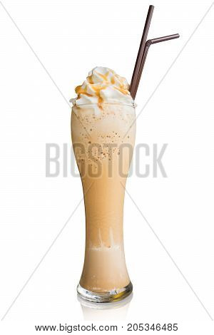 Cappuccino frappe with whipping cream and butterscotch topping isolate on white background with clipping path.