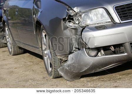 Car crash, accident on street, damaged cars after collision