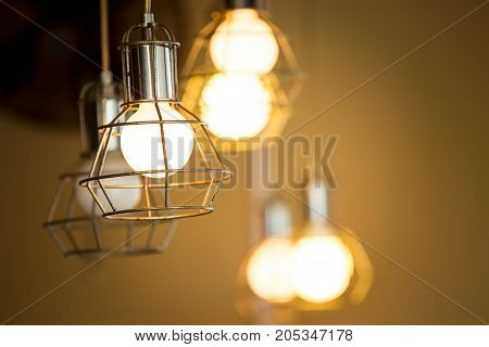 Old light bulbs and bokeh light background close up.