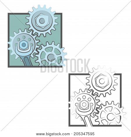 an illustration consisting of two images of gears with a wrench in the form of a symbol