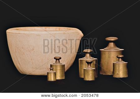 Antique Mortar And Weights