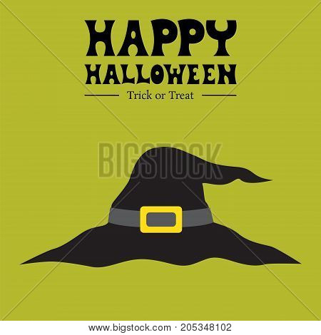 happy halloween witch card  background, witch's hat party greeting, vector illustration