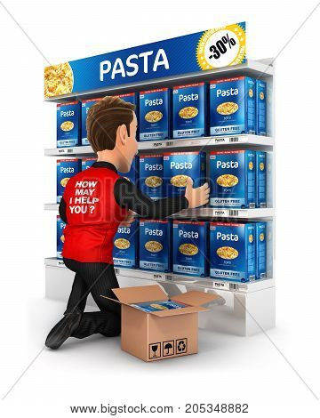 3d seller arranging packs of pasta in supermarket shelve illustration with isolated white background