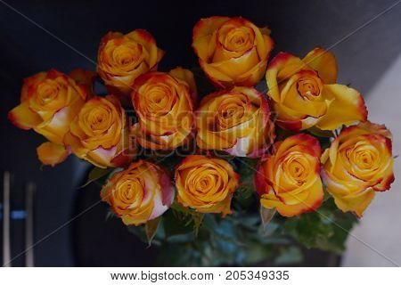 a bouquet of red and yellow roses stands on a dark background
