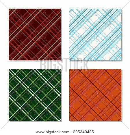Plaid fabric texture set. Four checkered patterns. Diagonal texture. Abstract seamless pattern. For wallpaper, web page background, surface textures. Pattern fills.