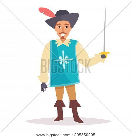 Musketeer. Vector. Cartoon. Isolated art on white background Flat