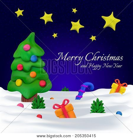 Handmade Vector Plasticine Greeting Card Or Banner For Christmas And Happy New Year