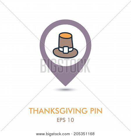 Pilgrim hat mapping pin icon. Harvest. Thanksgiving vector illustration eps 10