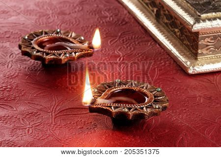 Indian Festival Diwali Diya Lamp Light with a gift box