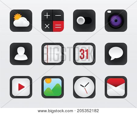 Icon set vector mobile interface on white background. Vector illustration diverse icons for mobile interface. Vector icon design for operation system