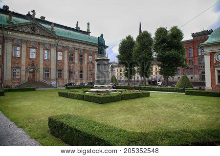 STOCKHOLM SWEDEN - AUGUST 19 2016: View on Monument of Axel Oxenstierna Lord High Chancellor of Sweden located in Riddarhuset Stockholm Sweden on August 19 2016.