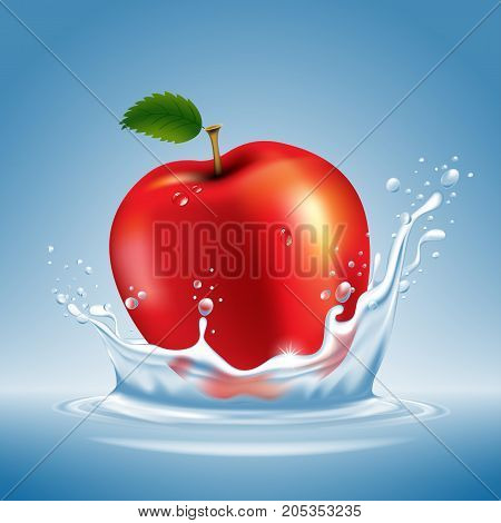 Apple In Water Splash