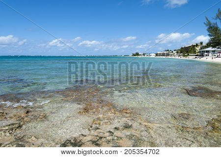 The view of Seven Mile Beach on Grand Cayman island (Cayman Islands).