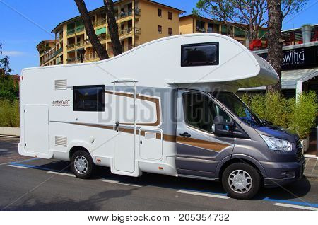 Sarnico, Italy -  August 16, 2017: Ford Nobel Art 9000 elegance camper parked on a public parking lot in the city of Sarnico