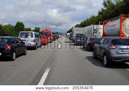 Sankt Jakob im Rosental, Carinthia, Austria - July 27, 2017: Emergency Lane during a traffic jam in front of the Karawanken Autobahn (A11) on black Saturday.