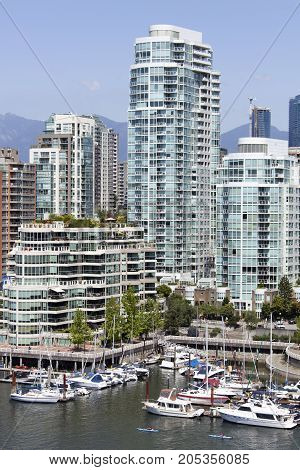 Davie Village residential district marina and apartment buildings in Vancouver downtown (British Columbia).