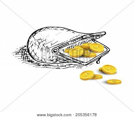 Opened hand drawn purse with golden coins. Vector banking illustration.