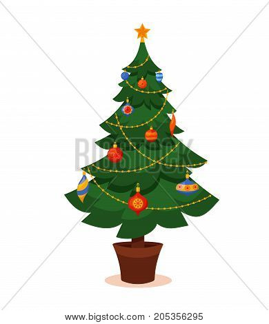 Christmas tree decorated vector illustration. Star, decoration balls and light bulb chain, gift boxes in colorful cartoon flat style. Merry Christmas and a happy New Year design for greeting cards.