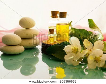 Bottle Of Aroma Essential Oil Or Spa And Natural Fragrance Oil With Dry Flower On Wooden Table, Imag