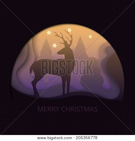Layered cut out paper Merry Christmas postcard with trees, deer, stars in the mist. Vector template in carving art style. Eps10.