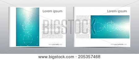 Rectangle brochure template layout, cover, annual report, magazine in A4 size with molecule dna structure. Geometric abstract background. Vector illustration