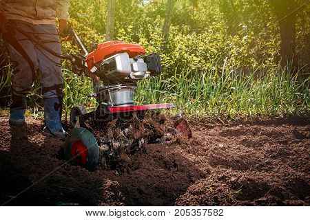 Farmer Plows The Land With A Cultivator, Preparing It For Planting Vegetables, On A Sunny Day Garden