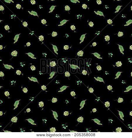 Watercolor natural seamless pattern of hops. Floral vintage watercolor illustration on black  background