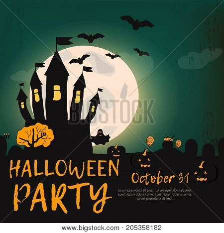 Happy halloween. Halloween Background. Vector Illustration. Party Invitation Concept in Traditional Yellow and Black Colors with Place for your Text. - stock vector