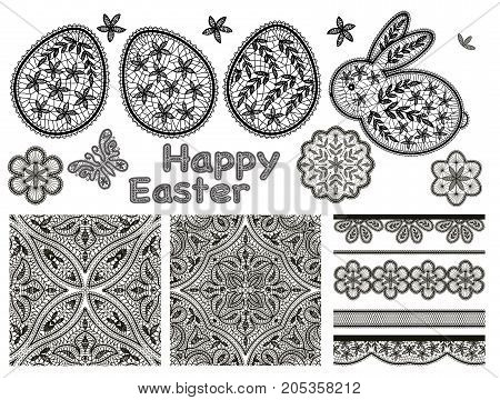 Set of lace design elements for Happy Easter Day with lace eggs and cute rabbits, butterfly and seamless pattern. Graphically, silhouette drawing. Stock line vector illustration.