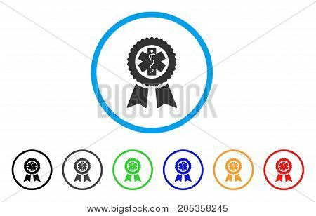 Achievement Medical Seal rounded icon. Style is a flat achievement medical seal gray symbol inside light blue circle with black, gray, green, blue, red, orange versions.