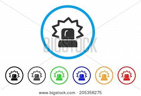 Alarm rounded icon. Style is a flat alarm gray symbol inside light blue circle with black, gray, green, blue, red, orange variants. Vector designed for web and software interfaces.