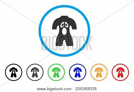 Anatomy rounded icon. Style is a flat anatomy grey symbol inside light blue circle with black, gray, green, blue, red, orange color versions. Vector designed for web and software interfaces.