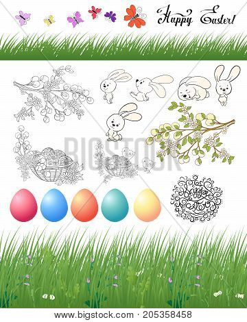 Set of design elements for Happy Easter Day with eggs and cute rabbits and butterflies. Stock line vector illustration.