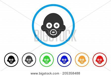 Baby Head rounded icon. Style is a flat baby head gray symbol inside light blue circle with black, gray, green, blue, red, orange versions. Vector designed for web and software interfaces.