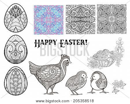 Set of design elements for Happy Easter Day with eggs and cute hen and chicks and seamless pattern. Stock line vector illustration.