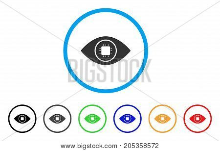 Bionic Eye Lens rounded icon. Style is a flat bionic eye lens grey symbol inside light blue circle with black, gray, green, blue, red, orange variants. Vector designed for web and software interfaces.
