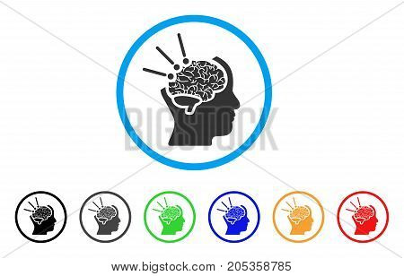 Brain Operation rounded icon. Style is a flat brain operation gray symbol inside light blue circle with black, gray, green, blue, red, orange color versions.