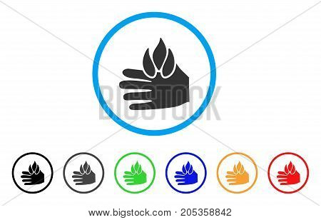 Burn Hand rounded icon. Style is a flat burn hand gray symbol inside light blue circle with black, gray, green, blue, red, orange variants. Vector designed for web and software interfaces.